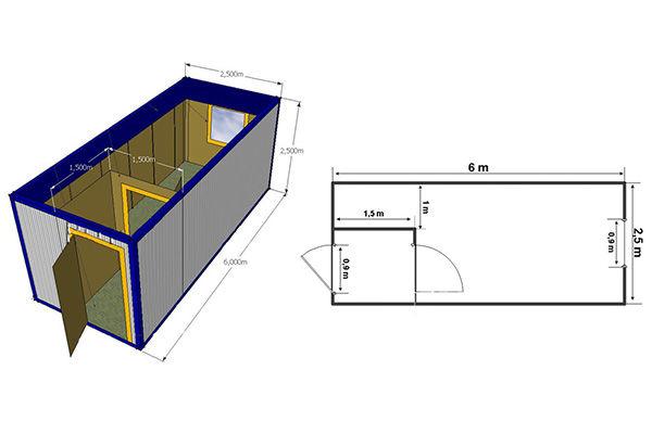 Стандартные размеры металлической бытовки